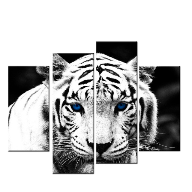 Black and White Tiger Wall Art for living room HD canvas print ...