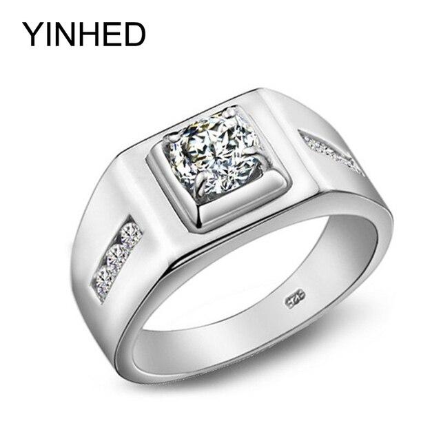 e75feb6e1d4d Yinhed lujo boda Anillos para hombres 100% 925 anillo de plata esterlina  6mm cúbicos ZIRCON