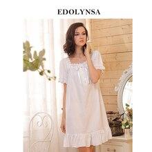 2015 Brand Sleep Lounge Pajamas Women Sleepwear Cotton Nightgowns Sexy Indoor Clothing Home Dress White Nightdress