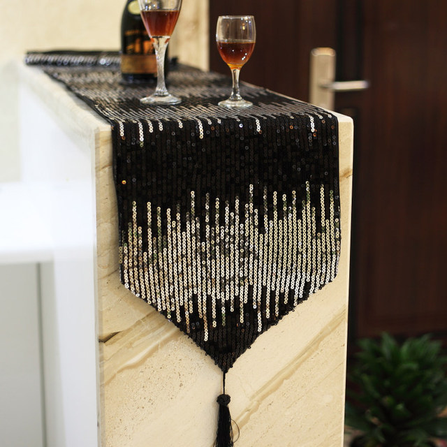 Modern Style Fashion Simple Black Silver Sequins Tea Coffee Table Cloth  Table Runner Tablecloth Runner Home