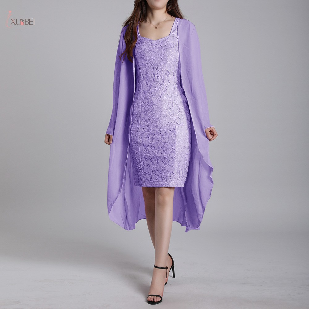 2019 Lilac Lace Mother Of The Bride Dresses Suit With Jacket Long Sleeve Wedding Party Guest Gown Size 2-18W