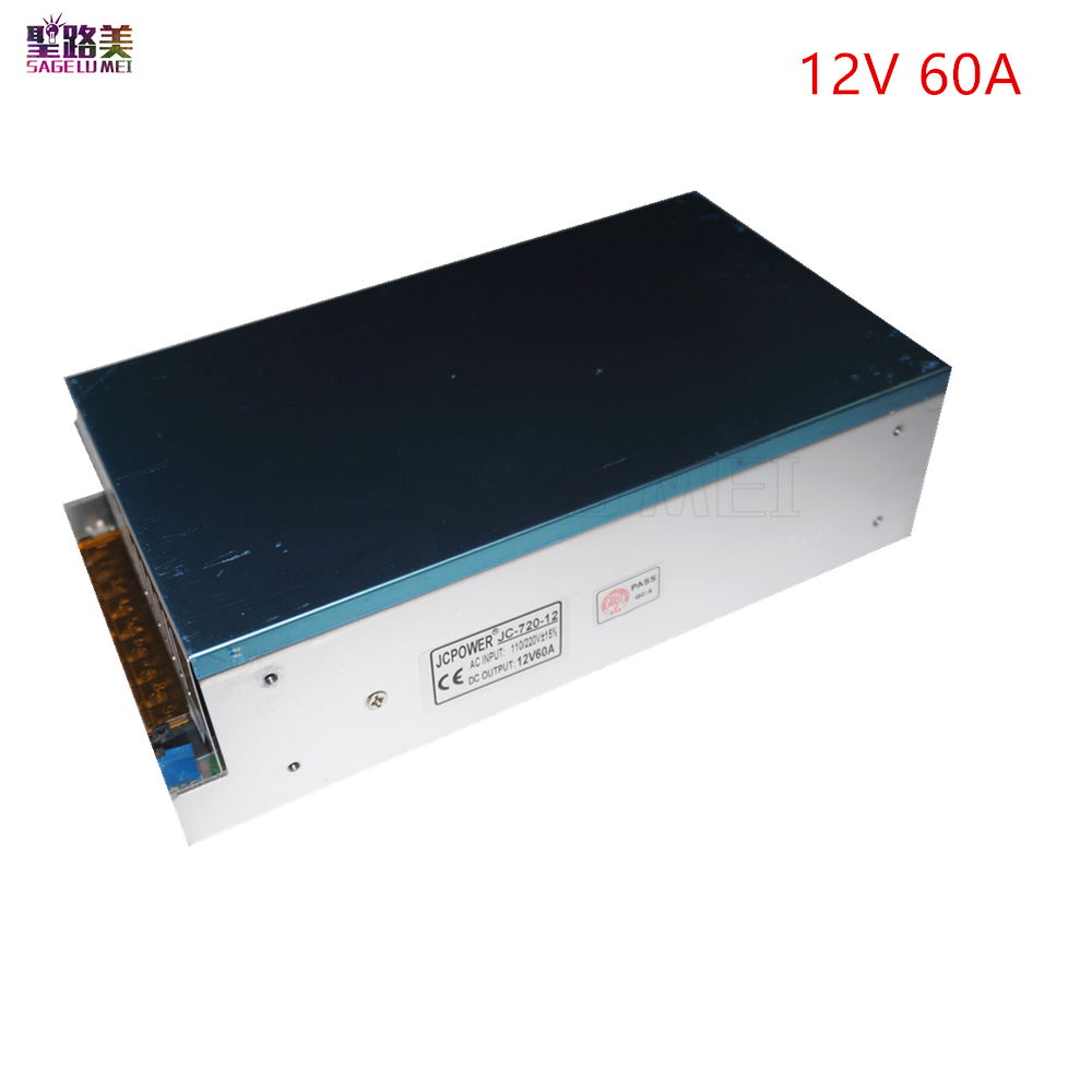 free shipping DC12V 60A 720W AC110-220V to DC12V 60A Switch Power Supply Transformer for LED Strip lamp lighting CCTV PSU switching power supply 720w dc 12v 60a 110 or 220v ac to dc12v smps for led strip display light cnc cctv free shipping