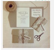 100 sets Elegant laser cut handgemaakte vintage bruiloft uitnodigingskaart luxe uitnodigingen met envelop en kant