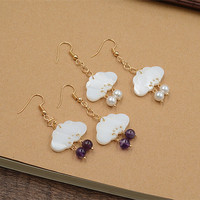 Female Pure And Fresh And Lovely Clouds Purple Crystal Pearl Restoring Ancient Ways Shells Long Golden