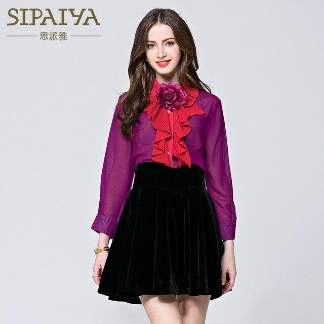 SIPAIYA 2017 Runway Designer Office Tops New Fashion Womens Blouse Long Sleeve Ruffles Bow Collar Blusas feminina Purple Top