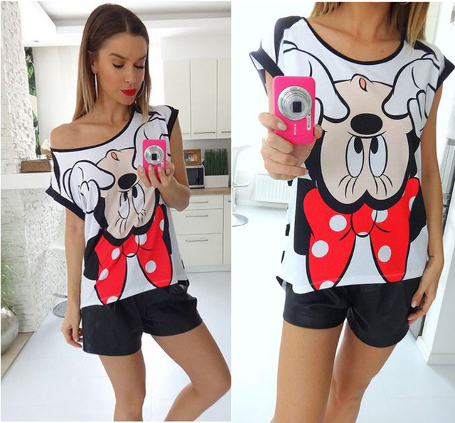 Summer Fashion Striped T-shirt Printing Patchwork Unique Casual Cartoon Minnie t-shirt Girl Women Loose Camisetas Mujer Verano