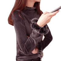 Sweater Women Autumn Fashion Half high Collar Fur Liner Elastic Cardigan Sleeves Long Plush Sweaters Solid Pullover Top