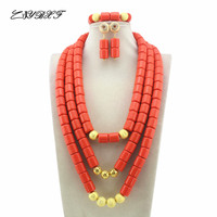2019 Orange African Coral Beads Jewelry Sets Fashion Nigerian Wedding African Costume Beads Jewelry Set Free Shipping L1036