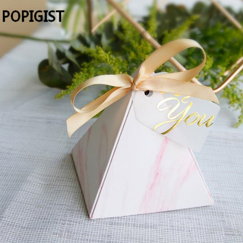 Creative Triangular Two pattern Candy Boxes for you tags Bomboniere Wedding Favors souvenirs Gift Box Party