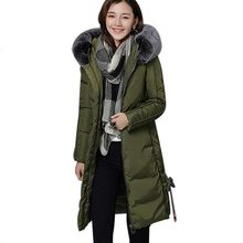 new 2017 female winter warm thicker Cotton jacket Women's Faux fur collar Thick Slim hooded plus size Long jacket Coat QH0387