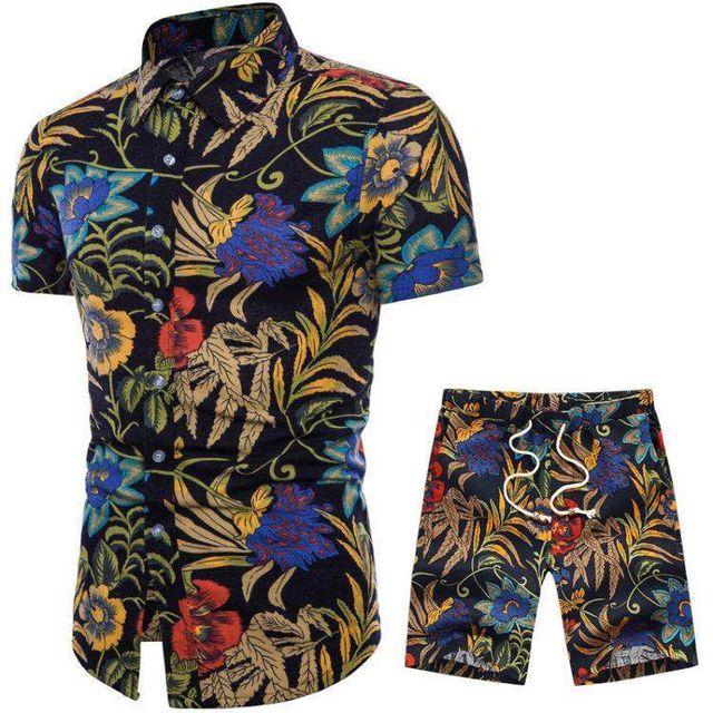 Hot Sale Fashion Men's Sets Shirt + Shorts Short Sleeve Linen Cotton Slim Fit Casual Shirts Suits Popular Floral Pattern Printed