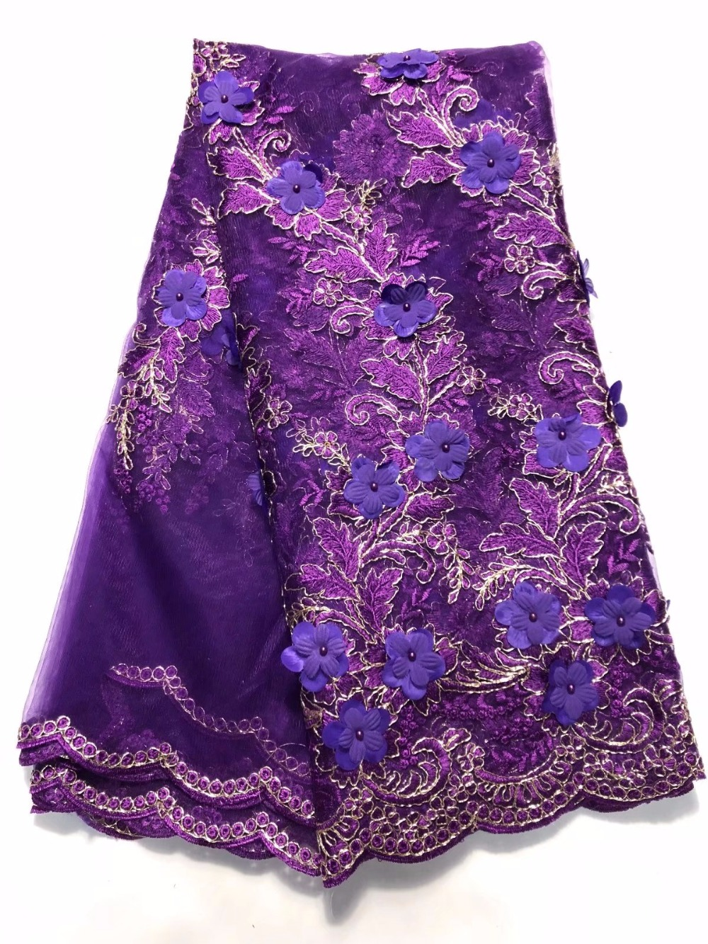 purple african lace french lace fabric with beads and stones 2018 high quality tulle lace for women dresses 5yard