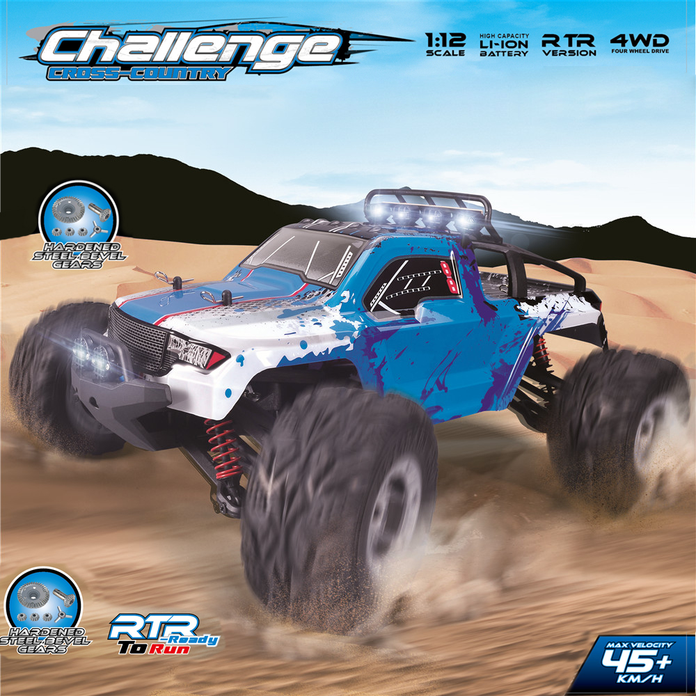 New Arrival RC Car 1/12 Scale 2.4G Electric 4WD Remote Control Car 45KM/H High speed RC Climbing Car Off-road vehicle with LED