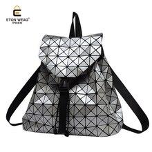 Etonweag Для женщин светящиеся алмаз геометрия решетки рюкзак для девочек-подростков мешок школы моды путешествия Mochila ежедневно рюкзак