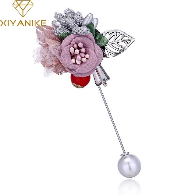 Xiyanike Мода розовый синий ткань булавка цветок брошь для Для женщин Для мужчин полые листья брошь ручной работы элегантные свадебные украшения JBSW40