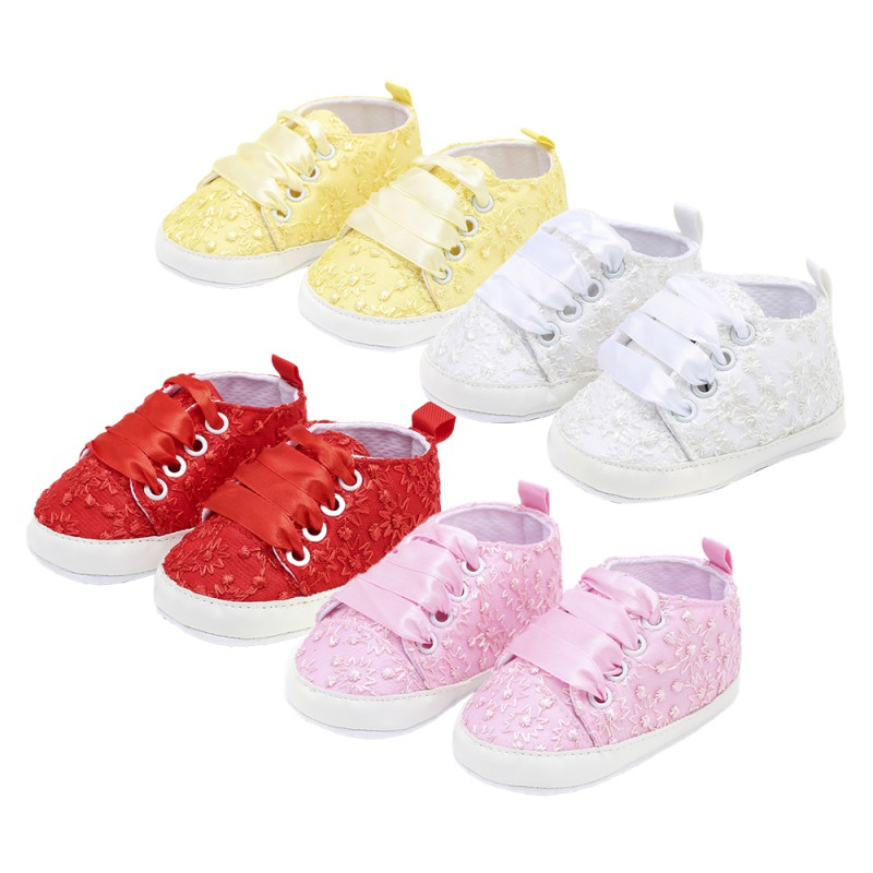 2019 Newborn Lace Embroidery Cloth Shoes Baby Girls First Walkers Toddler Bow Flower Footwear Summer Baby Girl Soft Sole Shoes B