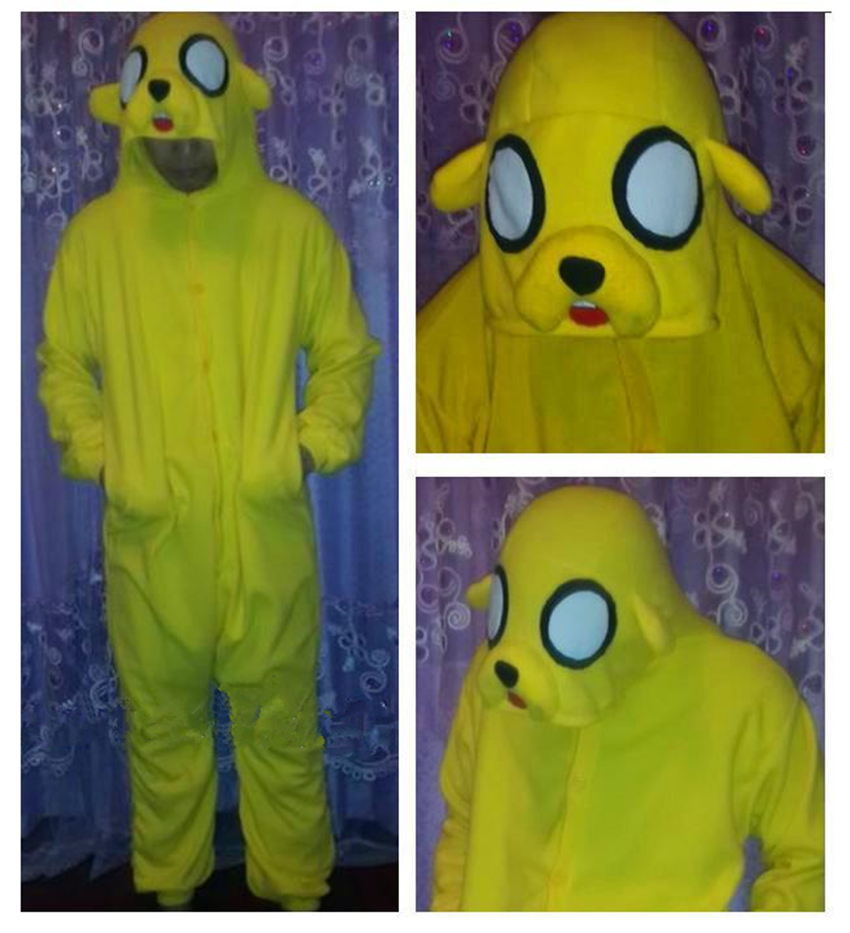 6ee3c4042ee6e1 Jake Finn Adventure przejść Żółty Pies Cosplay costume Cartoon anime Piżamy  Dorośli Unisex zwierząt Onesie Ciepłe piżamy kombinezon