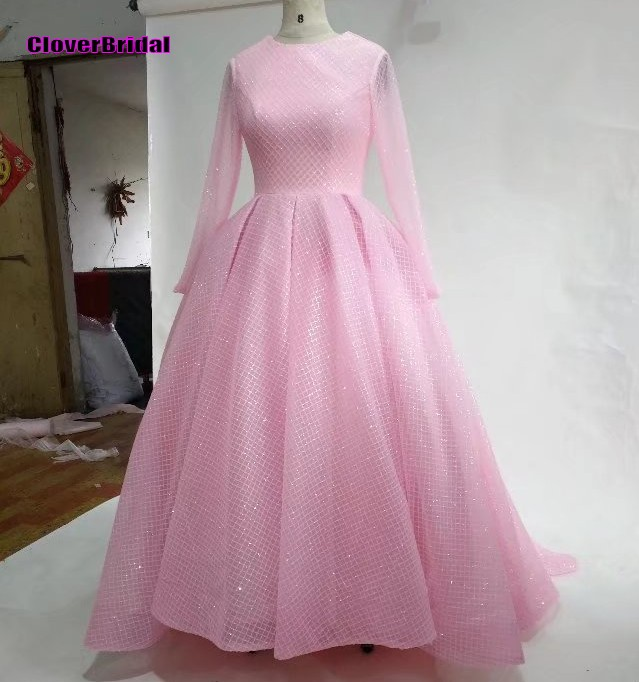 Shinning long prom dresses pink full sleeves A-line o neck formal ...