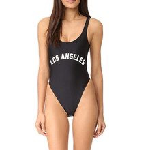 Echoine LOS ANGELES Monokini Swimwear Women 2017 New Solid Black One Piece Swimsuit Letter Bodysuit Sexy Backless Bikini Bathers