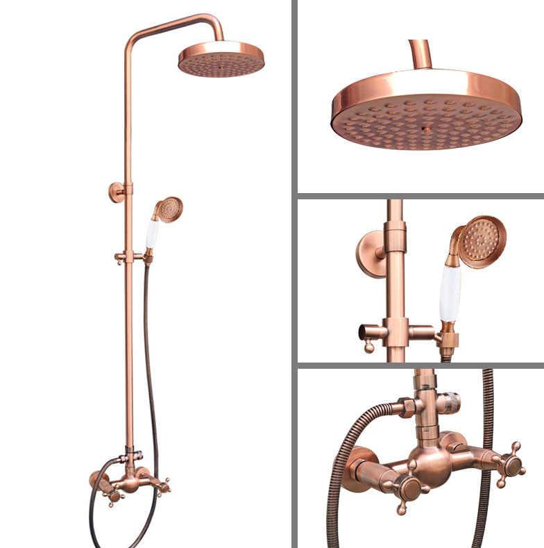 """Antique Red miedź mosiądz podwójny krzyż uchwyty łazienka 8 """"okrągły deszczownica głowica prysznicowa kran zestaw do kąpieli bateria z kranu do montażu na ścianie mrg525"""