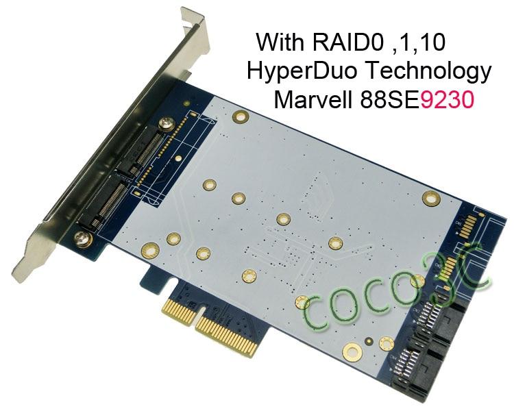 Dual SATA III + Dual NGFF slot PCI-e Card HyperDuo SATA 6Gbps 3.0 HDD M.2 SSD Built RAID PCI Express card шасси orient uhd 2m2c9 для ssd m 2 ngff для установки в sata отсек оптического привода ноутбука 9 5 мм 30346