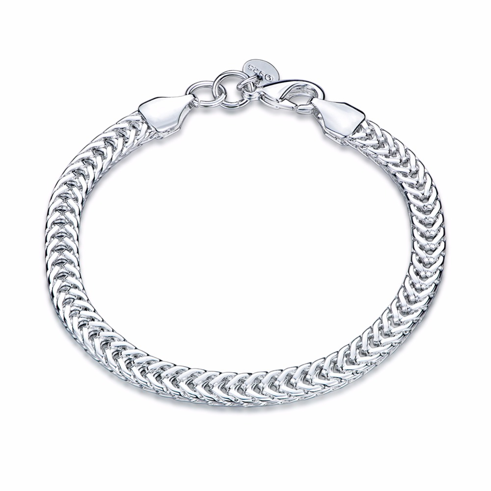 Classic Jewelry 925 sterling silver 19cm chains bracelet bangle H504 gift box pouches