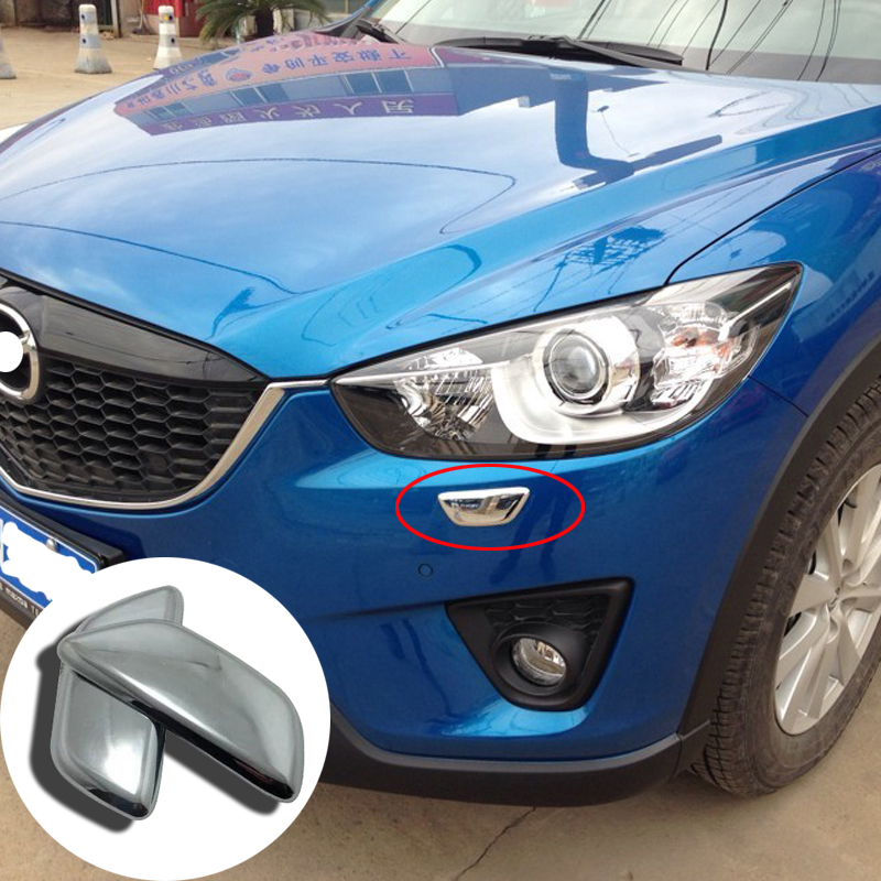 Auto accessories Fit For <font><b>Mazda</b></font> CX-5 <font><b>CX5</b></font> 2012 2013 2014 <font><b>2015</b></font> <font><b>2016</b></font> ABS Chrome Front Headlight Cleaning cover Trim 2pcs image