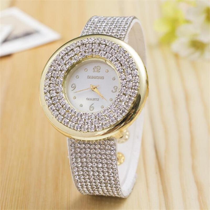 MINHIN Brand Women Dress Watch Luxury Full Crystal Leather Band Quartz Wristwatch Ladies Luxury Bracelet Watches