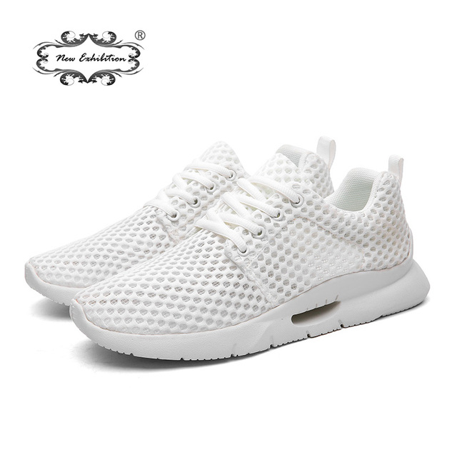 Nova exposição Homens Malha Sapatos Tênis Da Moda 2018 Marca o Verão Dos Homens Respirável Para Caminhadas Leves Sapatos Casuais sapato 39-48