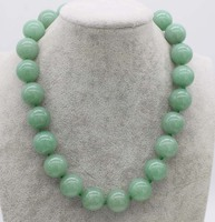18mm green jade necklace round 18inch wholesale beads nature FPPJ