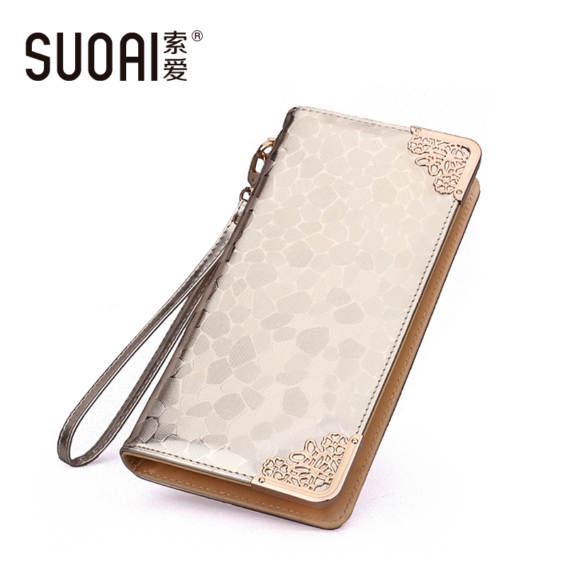 SUOAI Wallets New Women Fashion Stone Pu Leather Long Purse High Quality