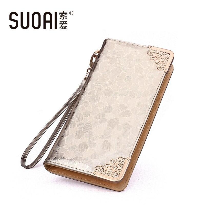 SUOAI Wallets 2018 New Women  Fashion Stone Pu Leather Long Purse High Quality Female Long Wallet