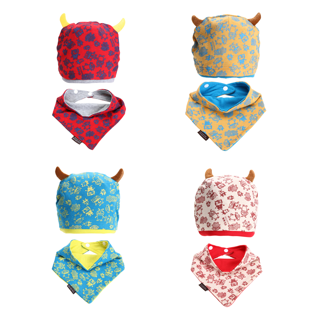 Baby Beanie Cap Set with Bandana Bib Monsters Design Baby Girl Cap scarf Set Kids Toddler Clothing Accessories Baby Bibs Set