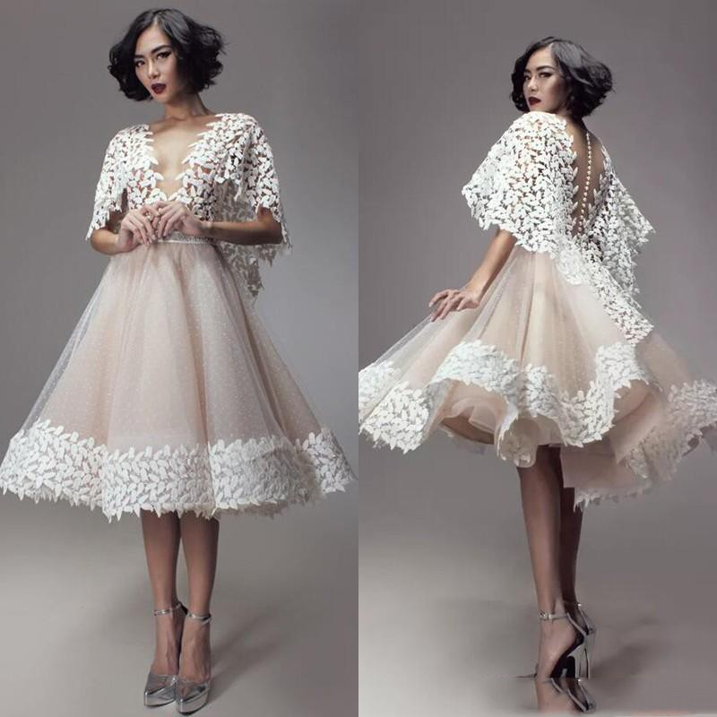 Chic Design Short Prom Gowns 2018 Unique Lace Puffy Sleeve Knee Length Formal Dress Abendkleider Eye-Catching Short Party Dress