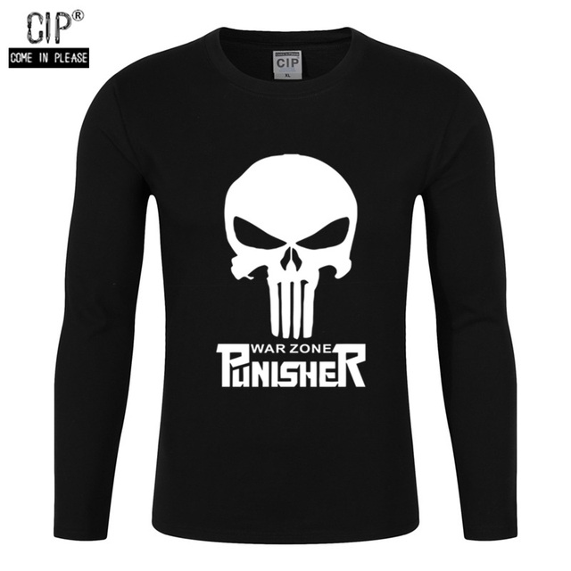 7aaf763da 100% Cotton The Punisher Skull T Shirt Boy Harajuku Hip Hop Streetwear  Brand Clothing Sweatshirt
