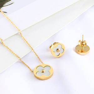 stainless steel jewelry accessories sets clover pendant necklace silver stud earrings for women brincos gold chain choker earing