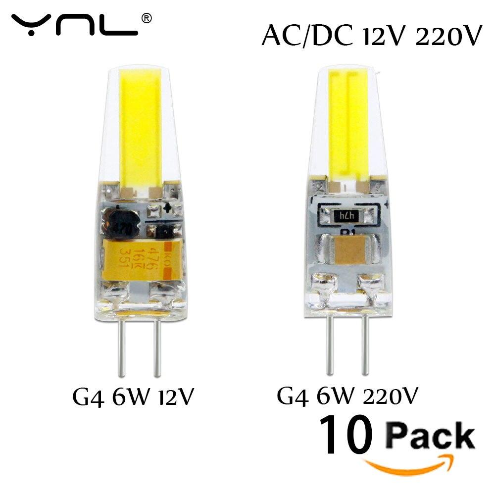 10 قطعة G4 LED مصباح التيار المتناوب تيار مستمر 12 فولت 220 فولت لمبة صغيرة Lampada LED G4 1505 COB رقاقة ضوء 360 شعاع زاوية أضواء استبدال 30 واط الهالوجين