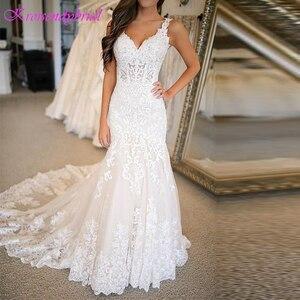 Image 1 - DZW576 Vestido Novia Mermaid Wedding Dresses Straps Lace Applique Wedding Dress  Wedding Gowns for Bride Robe Mariee Dentelle