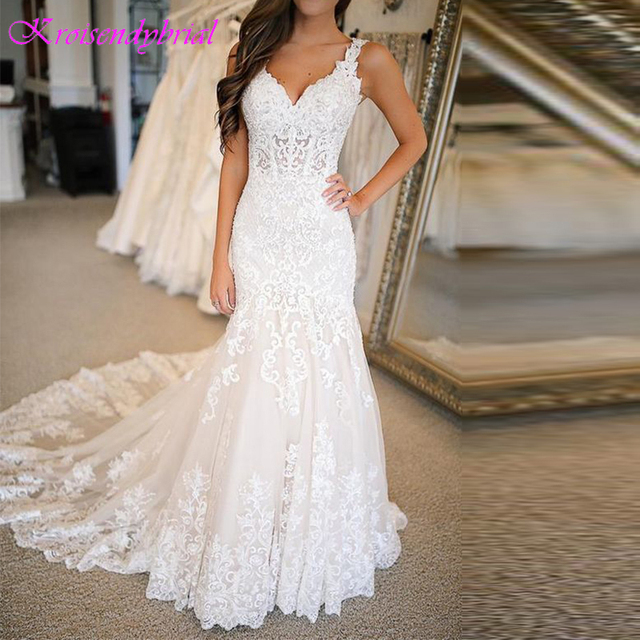 DZW576 Vestido Novia Mermaid Wedding Dresses Straps Lace Applique Wedding Dress  Wedding Gowns for Bride Robe Mariee Dentelle