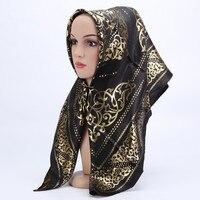 Women Muslim Hijab Scarves Summer Thin Female Fashion Muslim Scarf Gold Silk Long Shawl Headband Hijab