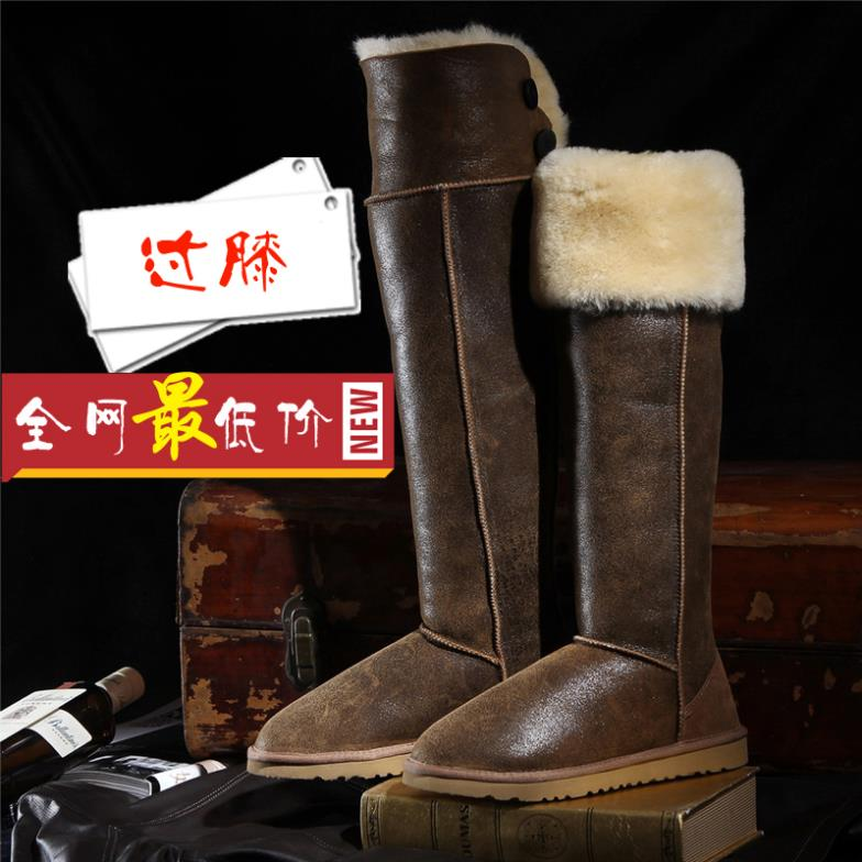 Fashion high tall thigh snow boots women winter shoes knee real sheepskin leather nature wool fur waterproof - Belles High Quality! store