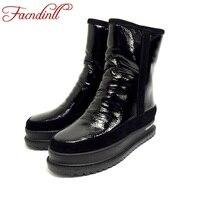 FACNDINLL Women Winter Snow Boots High Quality Genuine Leather Fur Flat Heel Platform Black Silver Ankle
