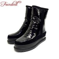 FACNDINLL Women Winter Snow Boots High Quality Genuine Leather Fur Flat Heel Platform Black Silver Ankle