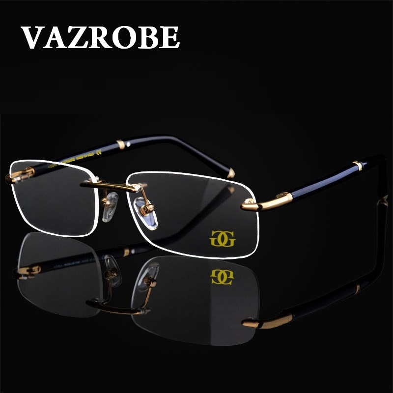 Vazrobe oro Rimmed anteojos sin montura marco hombres marca óptica ...