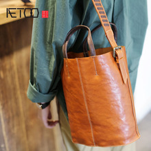 AETOO The first layer of leather wide shoulder strap bucket bag handbags new retro large capacity Messenger
