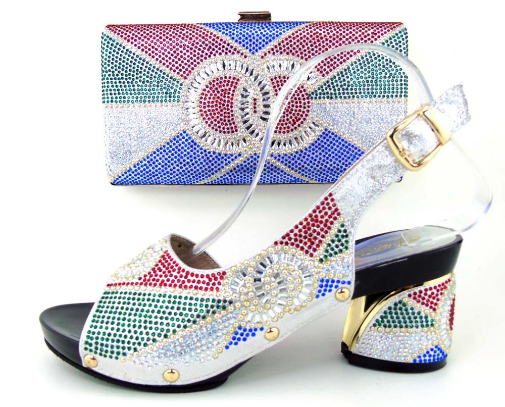 ФОТО 2017 High Quality Elegant Italian Shoes And Bag Set With Stone SILVER COLOR Free Shipping.African Shoes And Bag Set For Wedding