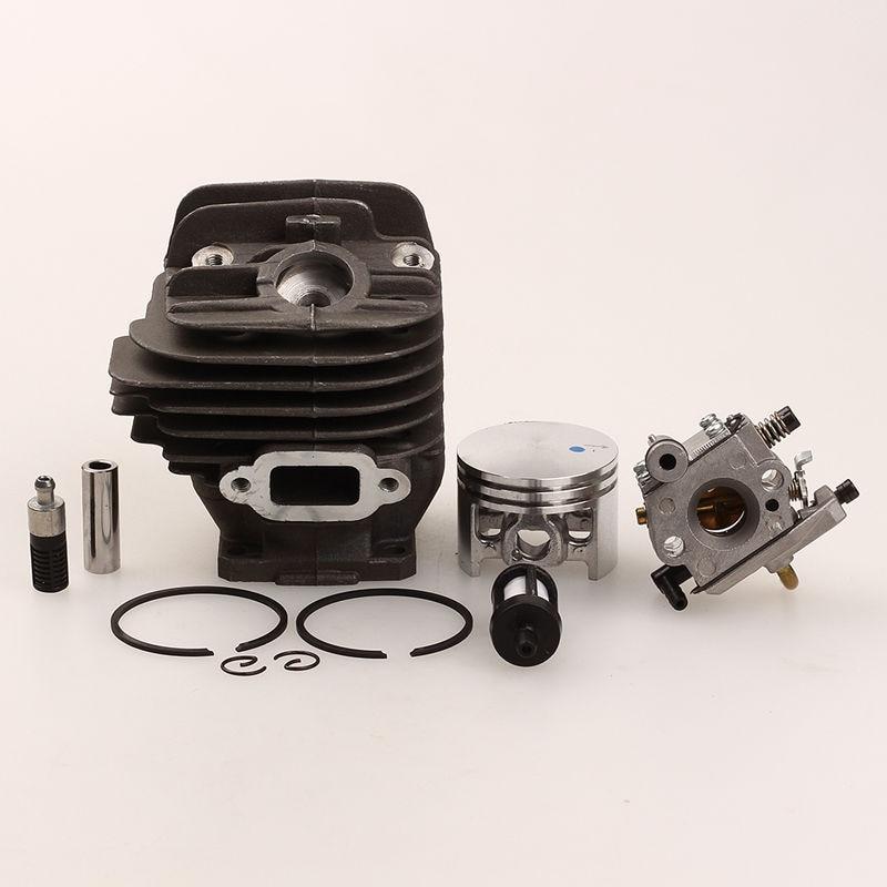 44mm Cylinder Piston Ring Sets with Carburetor Oil Fuel Filter For STIHL 026 MS260 026 1121 020 1208 cylinder piston kits with carburetor carb fit stihl fs55 fs45 br45 km55 hl45 hs45 km55 hl45 hs45 hs55 trimmer 34mm