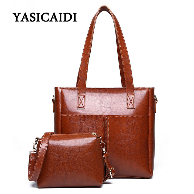 f4fe9e324d Fashiom 2pcs set women pu leather handbag high quality Oil Leather totes  ladies shoulder crossbody bag female messenger Bags