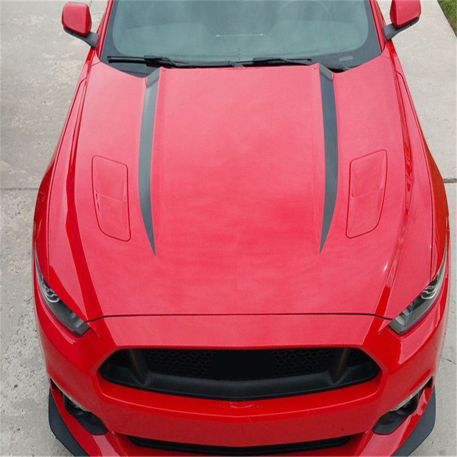 NEW Style Stripe Graphics Hood Decal Black Stripes Sticker for 2015 2016 FORD MUSTANG 0224 new style team graphics