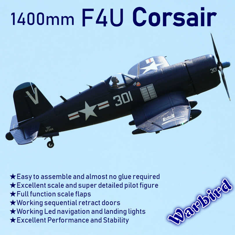 FMS 1400MM 1 4M F4U Corsir Blue 6CH with Flaps Retracts PNP RC Airplane  Gaint Warbird Radio Remote Control Model Plane Aircraft